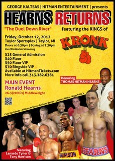 """Hearns Returns"" on October 12th to Taylor, Michigan"