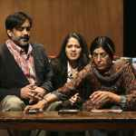 "(L-R) Mother Megha Gavaskar played by Rachna Khatau, daughter Arundhathi Rao played by Mouzam Makkar, and father Archit Gavaskar played by Anjul Nigahm in the comedy ""A Nice Indian Boy,"" now playing at East West Players. Photo by Michael Lamont."