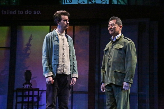 "(L-R) Jeff Locker as British ex-pat Peter Timms and Ben Wang as Minister of Culture Cai Guoliang in East West Players production of David Henry Hwang's ""Chinglish."" Photo by Michael Lamont."