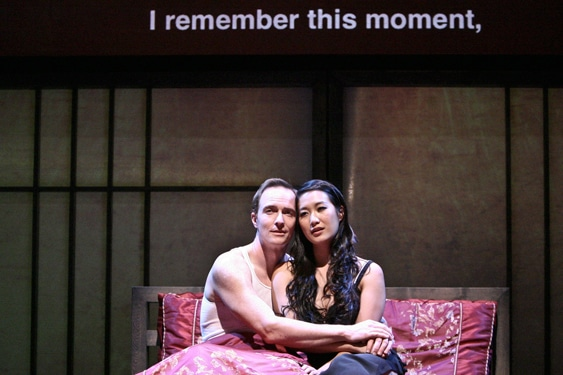 American businessman Daniel Cavanaugh (Matthew Jaeger) with Xi Yan (Kara Wang) in East West Players theatrical production of Chinglish written by David Henry Hwang. Photo by Michael Lamont.