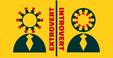 extrovert vs introvert simple icon metaphor. image relative to human psychology