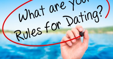 Man Hand writing What are your Rules for Dating?  with black marker on visual screen. Isolated on nature. Business, technology, internet concept. Stock Photo