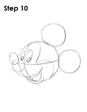 Draw Mickey Mouse Step 10