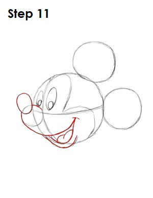 Draw Mickey Mouse Step 11