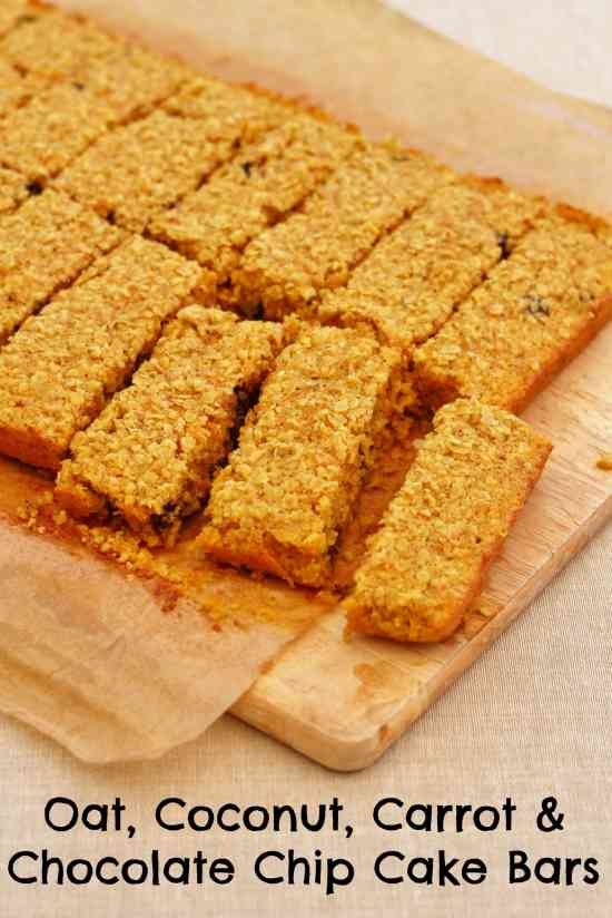 Oat, Coconut, Carrot and Chocolate Chip Cake Bars - Easy Peasy Foodie