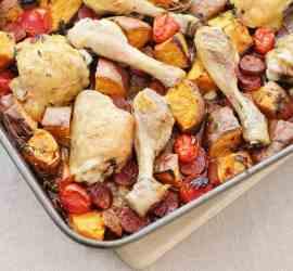 Chicken, Chorizo and Sweet Potato Traybake