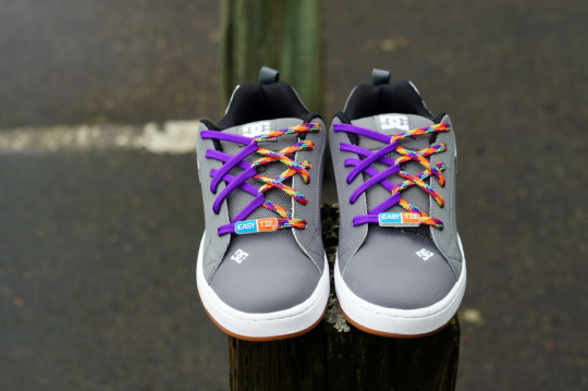DC-Mens-Court-Graffik-Skate-Shoe-Easy-Tie-Dual-Colored-Shoelaces-Purple Rainbow Triple Hash Back-Lacing-How-to-Lace-Your-Shoes-Method small
