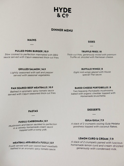 Hyde and Co Singapore Dinner Menu Small