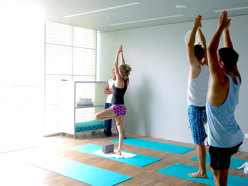 Morning Hatha Yoga session with 3 people