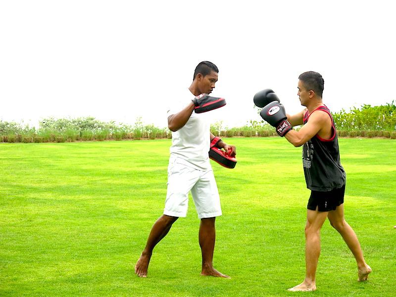 Evan training with Thai boxing trainer