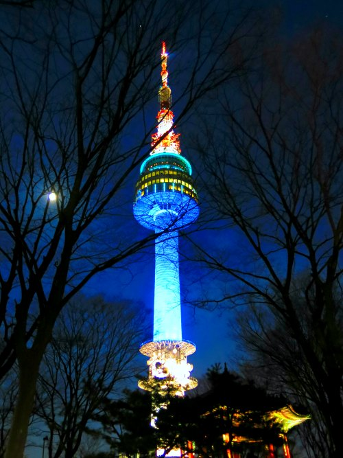 N seoul Tower lighted up at night