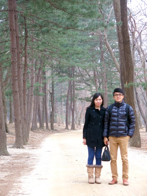 Couple with Redwood Trees