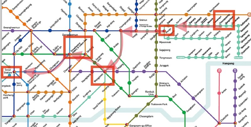 Subway Directions between Seoul and Cheongpyeong