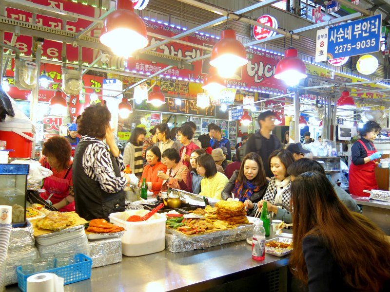 Busy Korean Food Stall