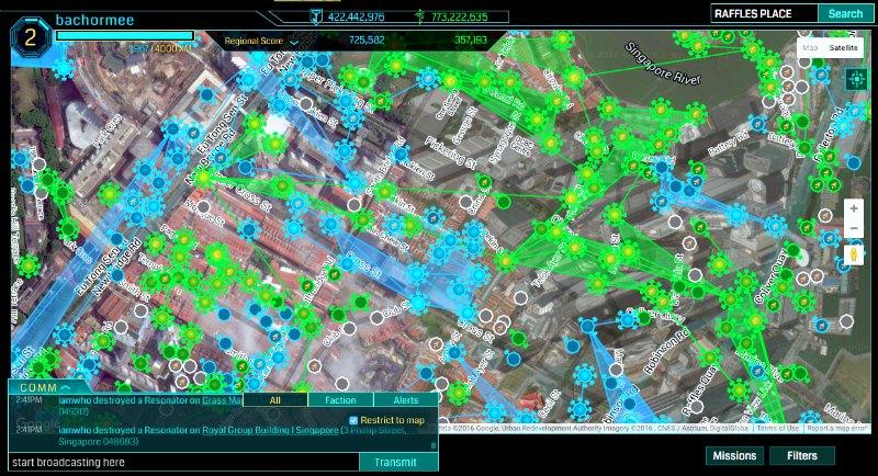 Raffles Place Ingress Intel Map