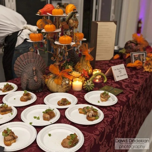 Centro's table with Chef Ryan Escudé's Citrus Braised Pork Belly Crostini with Apple Calvados Chutney