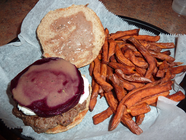 burger with beets and goat cheese