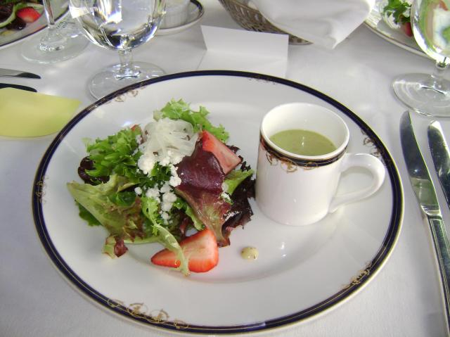 Soup: Sweet pea soup with marjoram, mascarpone & watermelon radish --- Salad: artesian blend baby lettuce, strawberries, feta, shaved vidalia onions, roasted pecans with a honey poppy seed dressing.