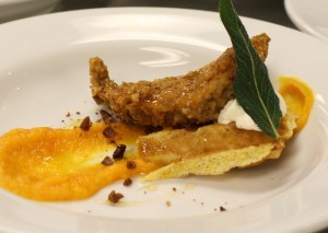 Quail & Waffles, Pecan Fried Quail, Cornbread Waffle Chipotle Sweet Potato, Honey Butter Apple Ginger Honey, Candied Pecans (Chef Dean Thompson, Flights)