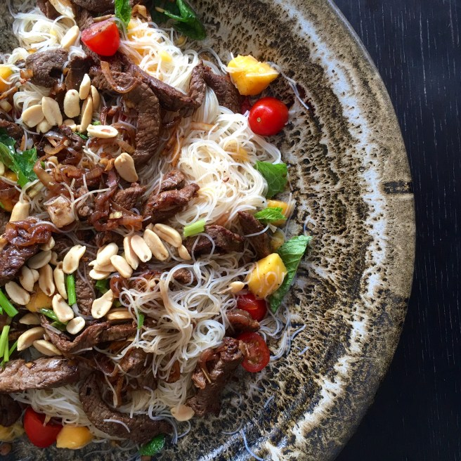 Stir-fried Beef with Lemongrass, Mango and Lychee