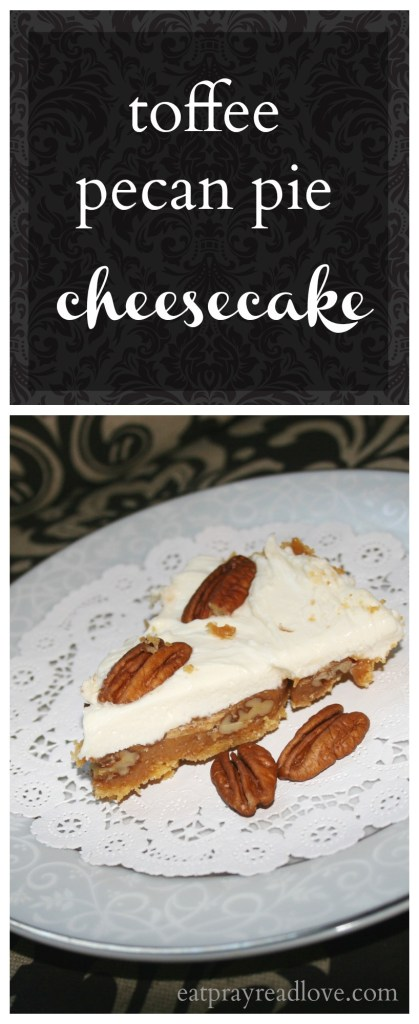 The delicious meeting of two favorites- pecan pie and cheesecake- with a toffee-covered crust. An indulgence you don't want to miss!