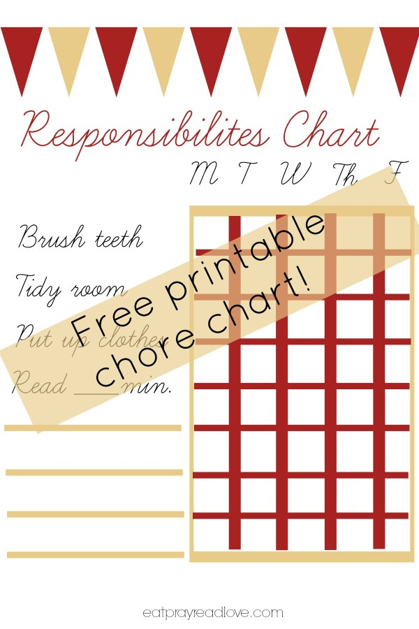 Free printable chore chart! Help your kids learn their responsibilities with this fun chore chart!