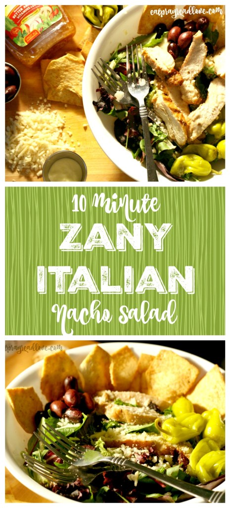zany italian nacho salad collage