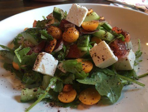 Plough greek salad at The Plough, Huddlesford