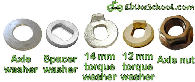 hub motor washers and axle nuts hardware