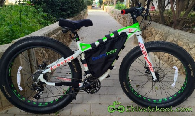 fat bike with electric rider triangle bag
