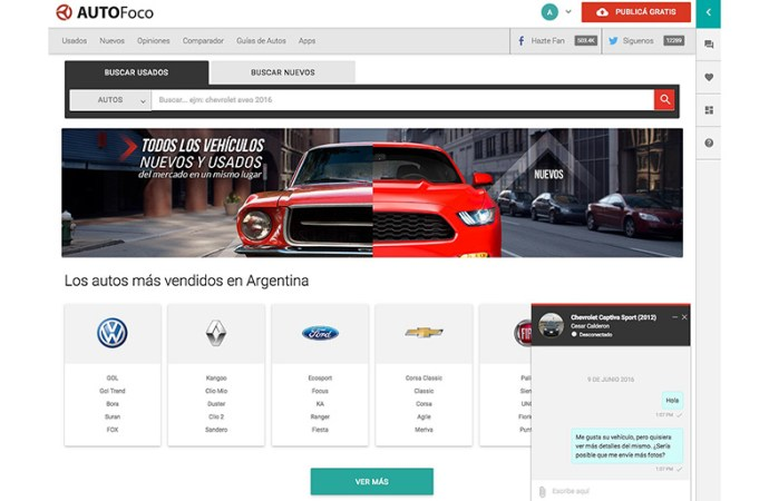AUTOfoco lanzó un chat para comprar o vender autos
