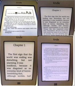 kindle font sizes