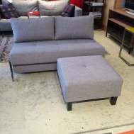 Cubed love seat/full XL bed $1733.  Floor model in MD grey $1549.  Footstool $375