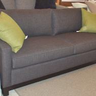 """Soho II 82"""" sofa  $2325.  Showroom sample $1795.  Upgrades: trillium back cushion, wood trestle base, top stitched."""