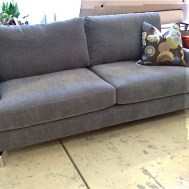 "$1129  Easton Sofa 80""Wx 39""Dx37""H Curious Steel fabric/metal leg"