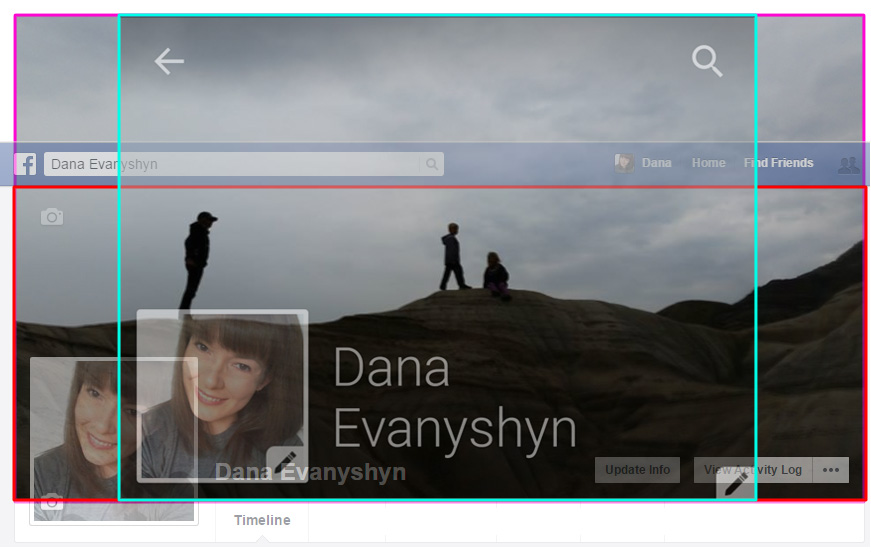 Facebook cover photo showing how it is cropped for mobile and desktop