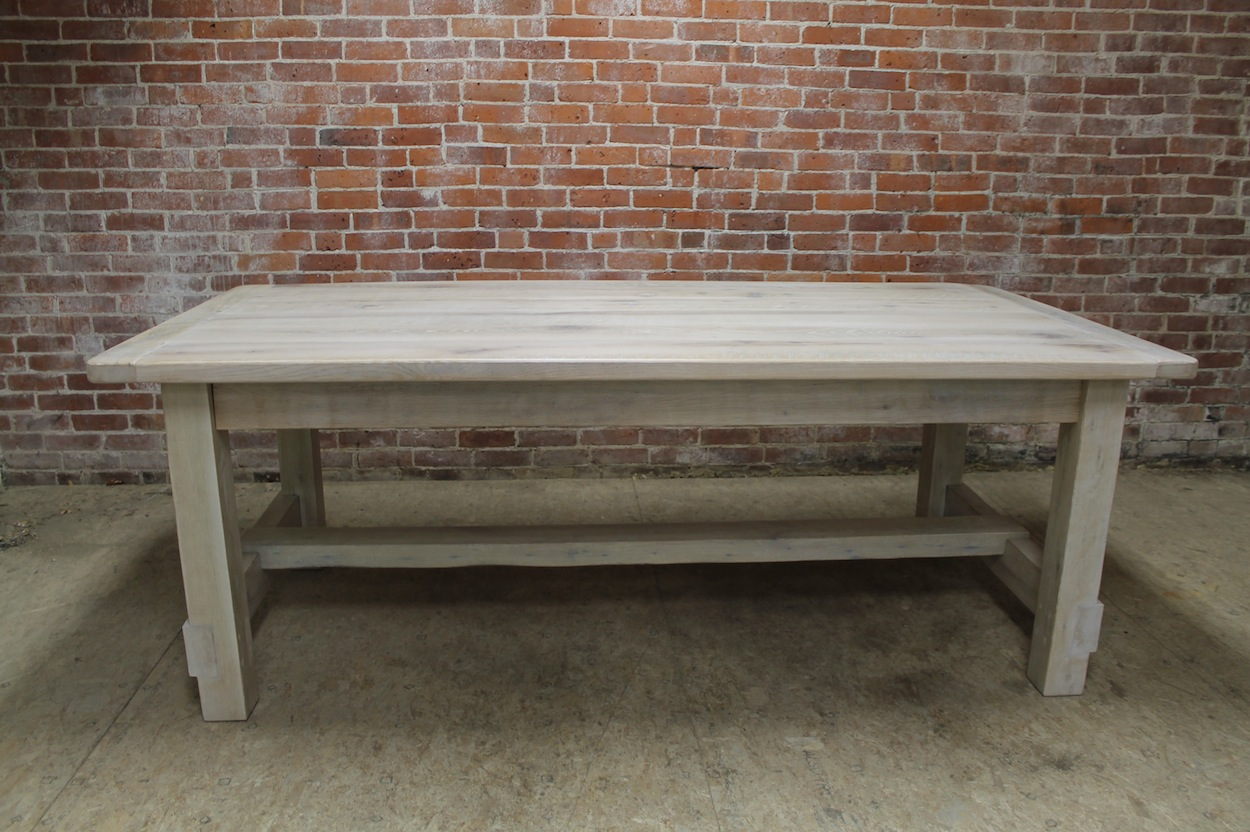 white washed farm table with custom trestle whitewash kitchen table White Wash Finished Farm Table