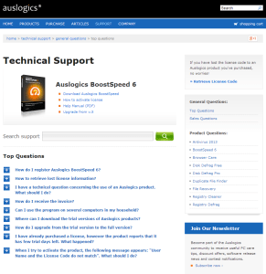 Auslogics Technical Support Page