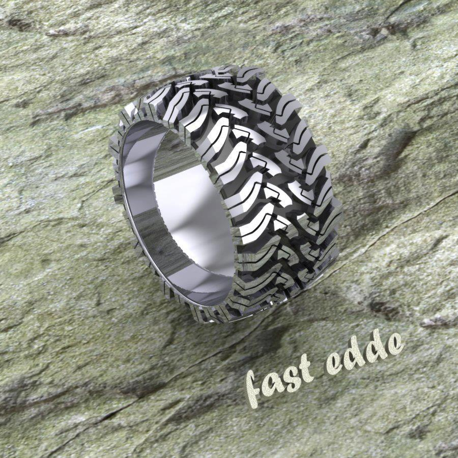 tread ring silver or gold tire tread wedding band Tread Ring Silver or Gold