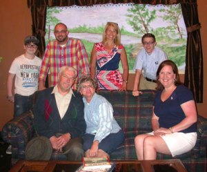 Here is the cast of On Golden Pond which opens at the Wm. M. Bouknight Theatre this weekend: Seated, left to right, Dave Engelman as Norman, Debbie Fryer as Ethel, Theresa Lambert as Chelsea; (back row) Nathan Noel as Billy, Allen Hatcher as Bill, Janet Johnson as the phone operator, and Carson Faulkner as Charlie.