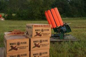 Shooters will blast through nearly a tractor-trailer load of clay pigeons at the Turkey Shoot in Forsyth, Georgia.