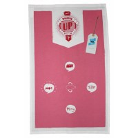 A pink and white teatowel with a 60&#039;s inspired design