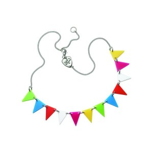 Triangles of bright bunting hang on a necklace chain