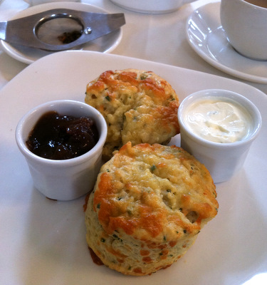 Savoury scones with chutney and sour cream at the Pump Rooms