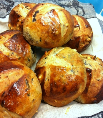 Hot cross buns made with fresh yeast