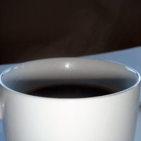 Coffee. Hot and fragrant. It wakes you up.