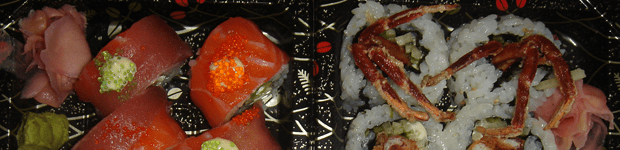 Sushi take-away. Genius in a box. Here, rainbow and softshell crab rolls.