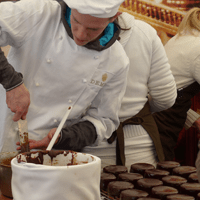 Sachertorte production line.