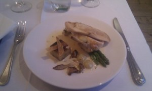 Roast Breast and Confit Leg of Chicken with Asparagus, Wild Mushroom & Grapes