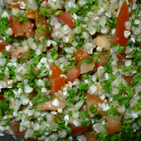 This tabbouleh was made with buckwheat but it is just as good with couscous.